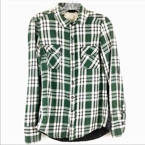 Blank NYC Plaid Flannel Button Down Sequins Sz S